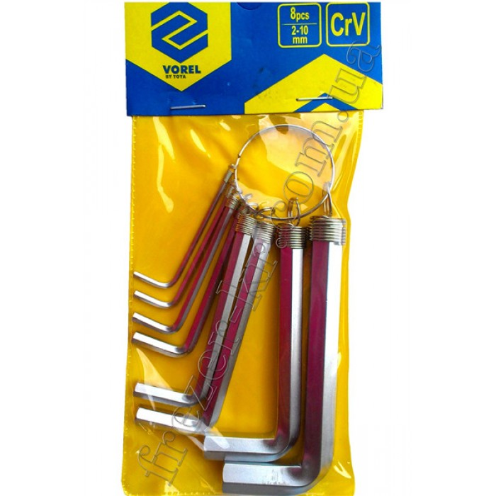 Набор шестигранных ключей 2,0-10 мм CrV 8 шт. на кольце (VOREL)