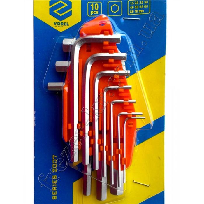 Набор шестигранных ключей 1,5-10 мм CrV 10 шт. (VOREL)