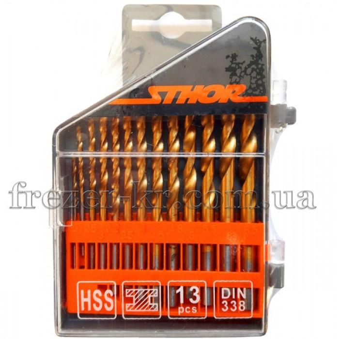 Набор сверл Ф 1,5-6,5 мм (13 шт.) HSS покрытые Stohr
