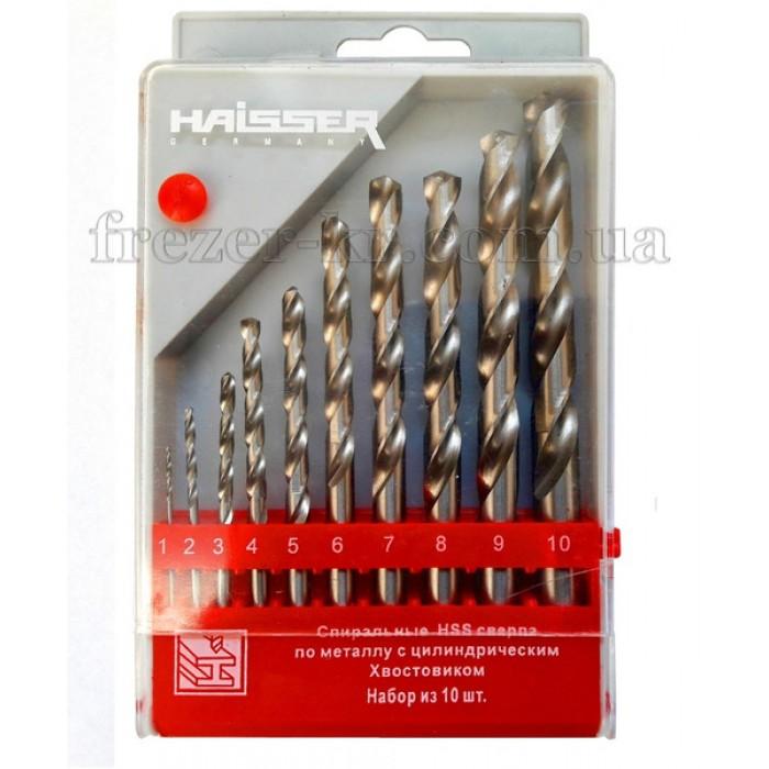 Набор сверл Ф 1,0-10,0 мм (10 шт.) HSS HAISSER